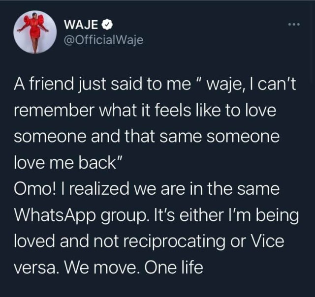 In my romantic relationships it is either I'm being loved and not reciprocating or vice versa - Waje 1