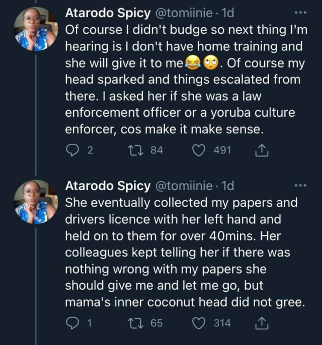 Doctor narrates how a female police officer tried bullying her for giving her documents of her car with left hand 2