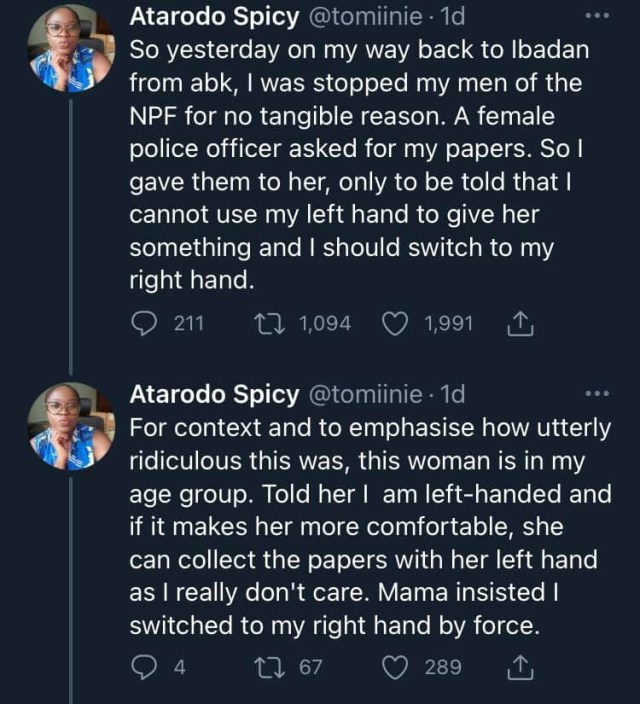 Doctor narrates how a female police officer tried bullying her for giving her documents of her car with left hand 1