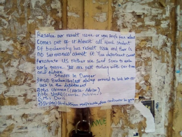Student allegedly leaves 'sacrifice' in front of a staffs office in Michael Okpara University, Abia State 1