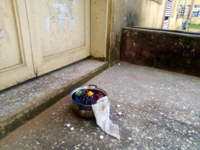 Student allegedly leaves 'sacrifice' in front of a staffs office in Michael Okpara University, Abia State