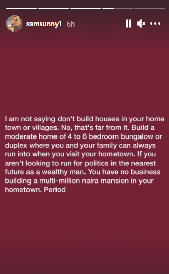If you are not looking to run for politics, you have no business building a multi-million naira mansion in your hometown - Actor Sam Nnabuike 4