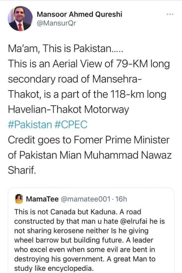 Pakistani journalist calls out Nigerian Twitter user for passing off a Pakistani road as Governor El-Rufai's project 2