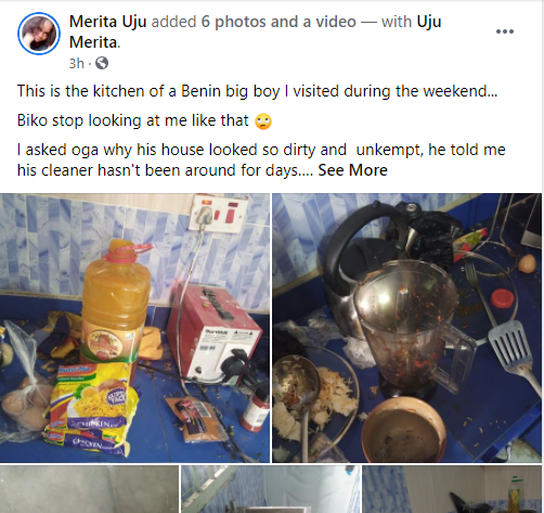 Nigerian lady shares photos of dirty house of a Benin 'big boy' she visited 1