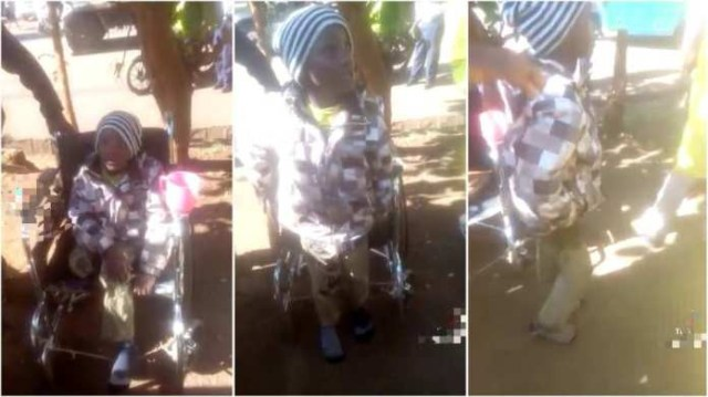 Dubious woman busted after making her son pose as a cripple to beg at vantage points in Ghana