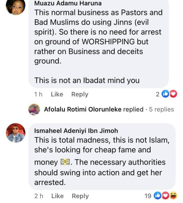 It is a sign of end time and unislamic - Nigerian Muslims react to video of female muslim preacher imitating pastors in casting out demons and sickness  4