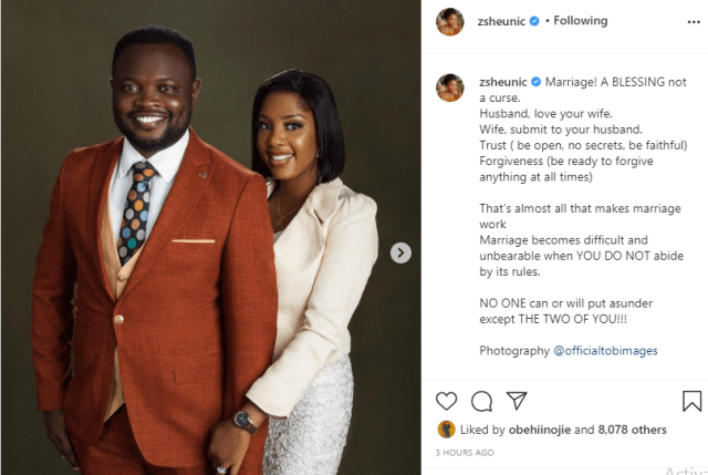 The Johnsons' star, Seun Osigbesan asks women to submit as she shares photos with her husband  1