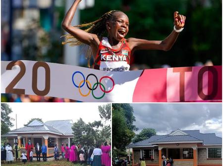 Kenyan Olympic champion gifts uncle who raised her since she was 2 a house