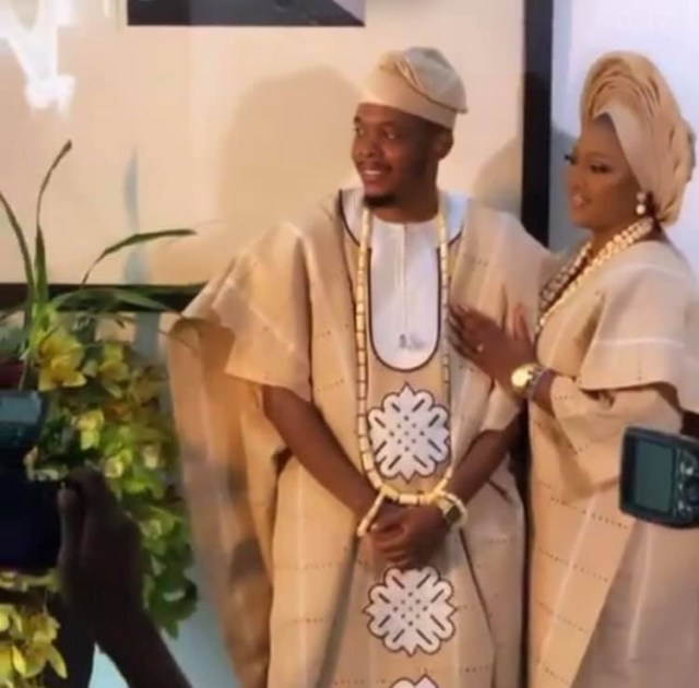 Producer Sess and fiance Feyi hold their traditional wedding