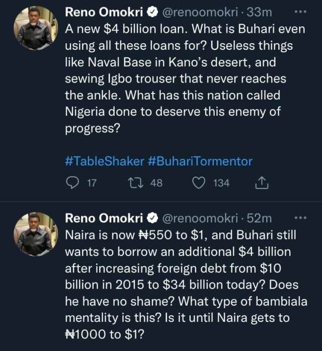 What type of bambiala mentality is this What is Buhari doing with all these loans - Reno Omokri asks as he reacts to the President's new loan request 1