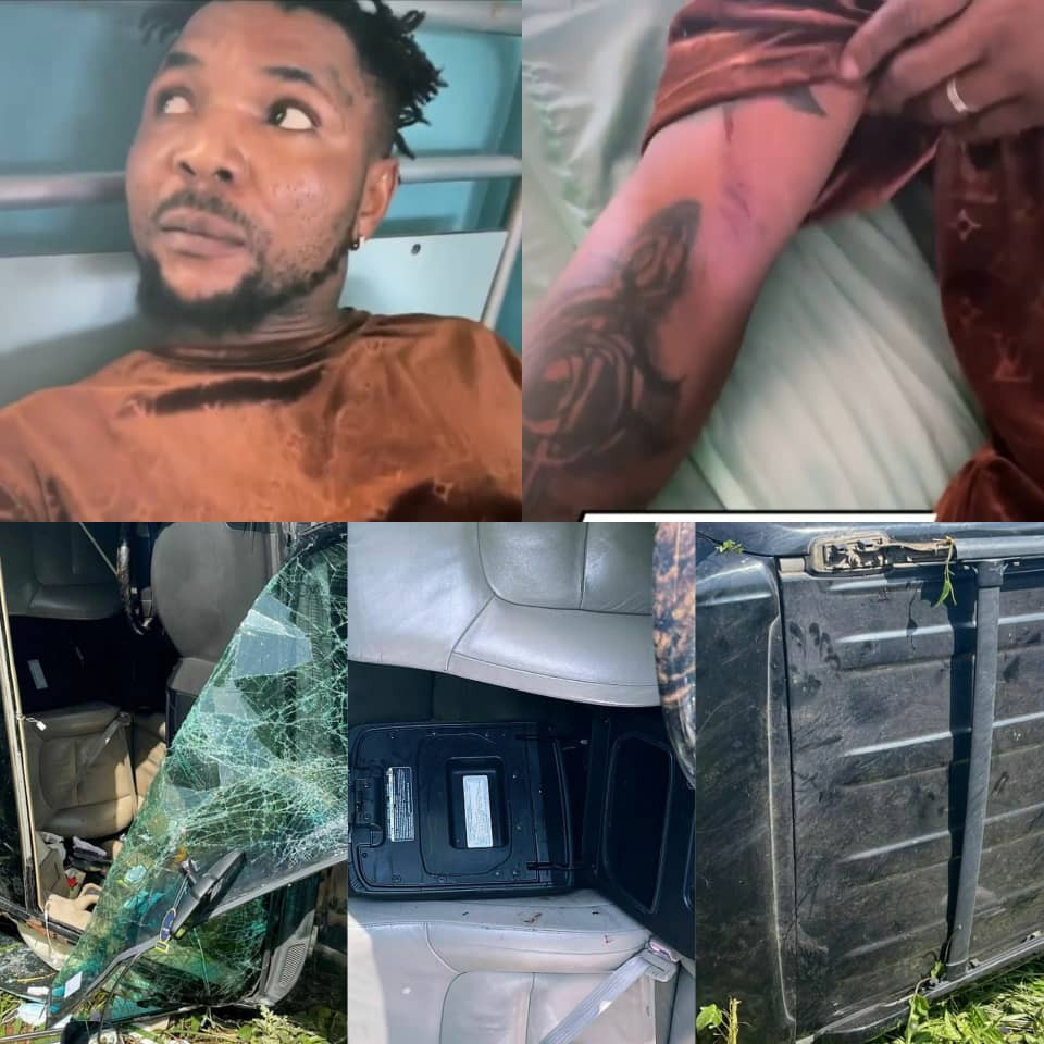 Singer, Oritse femi, survives ghastly motor accident (photos)