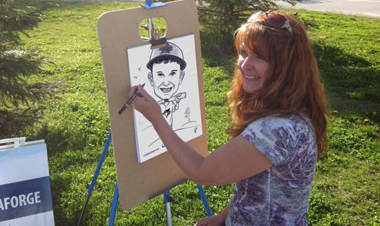 caricature artist drawing on the spot