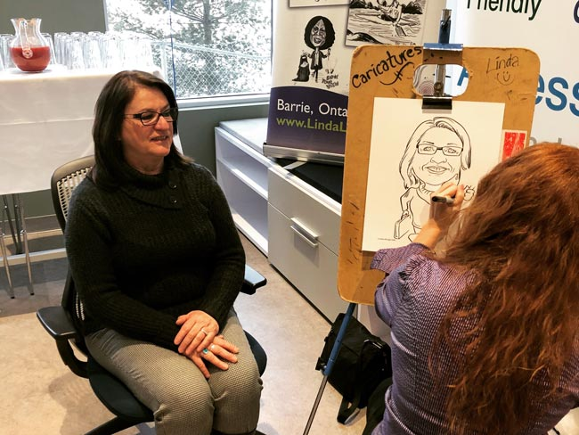 caricature drawing at real estate event