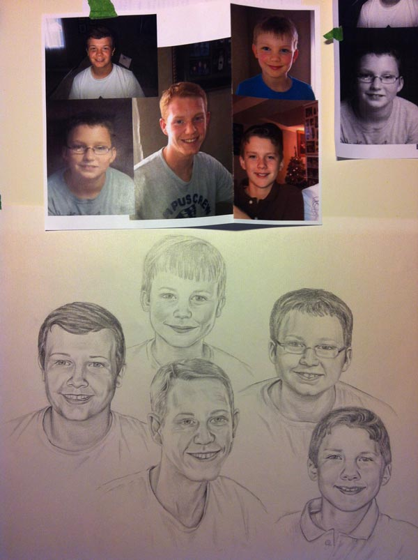 Family Portrait on Process - using several photos, drawing on illustration board