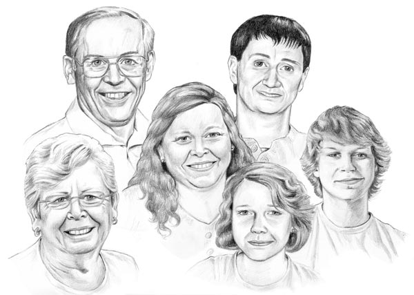 FAMILY PORTRAIT - pencil drawn from multiple photos on illustration board