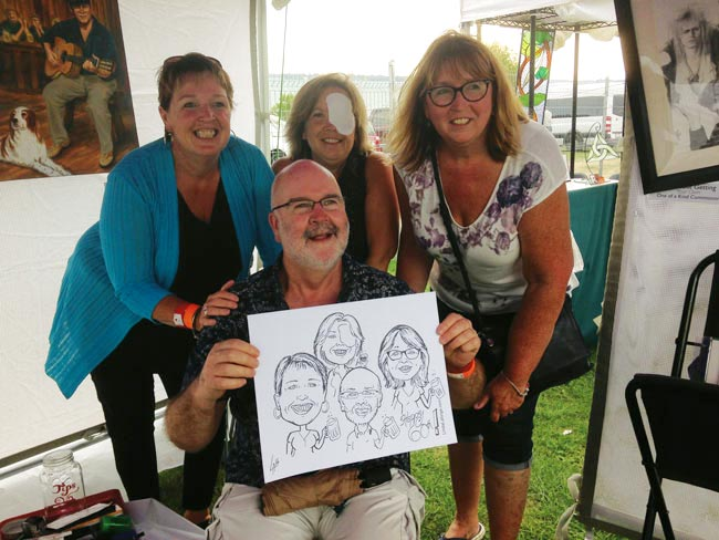 family drawn at outdoor festival