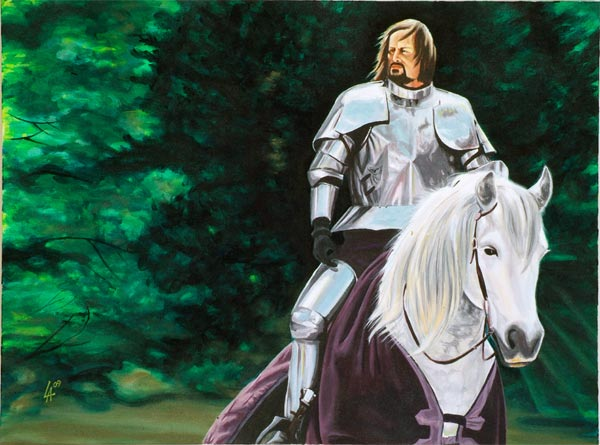 """KNIGHT IN SHINING ARMOUR, oil painting on 18"""" x 24"""" gallery canvas"""