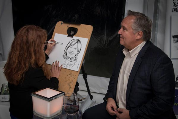 Drawing Caricatures at Nick and Nicole Moss's Wedding