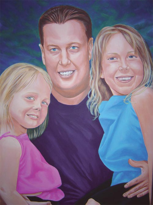 Dad and his Daughters, acrylic portrait on canvas