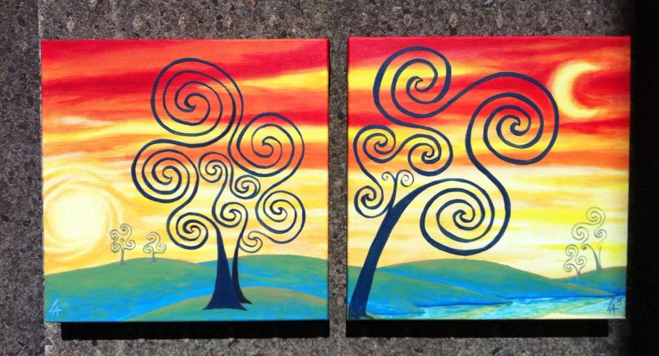 """Soul Trees, set of two 8"""" x 8"""" square acrylic paintings"""