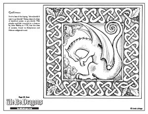 dragon washing his paws free colouring page