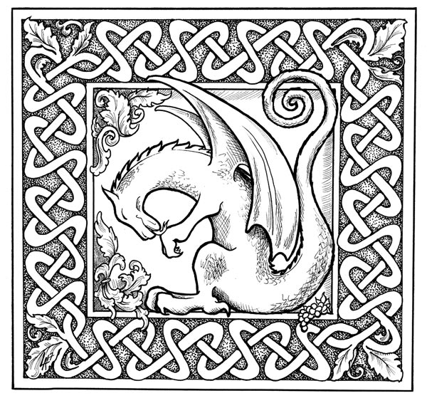 dragon celtic knot design, dragon have a bath