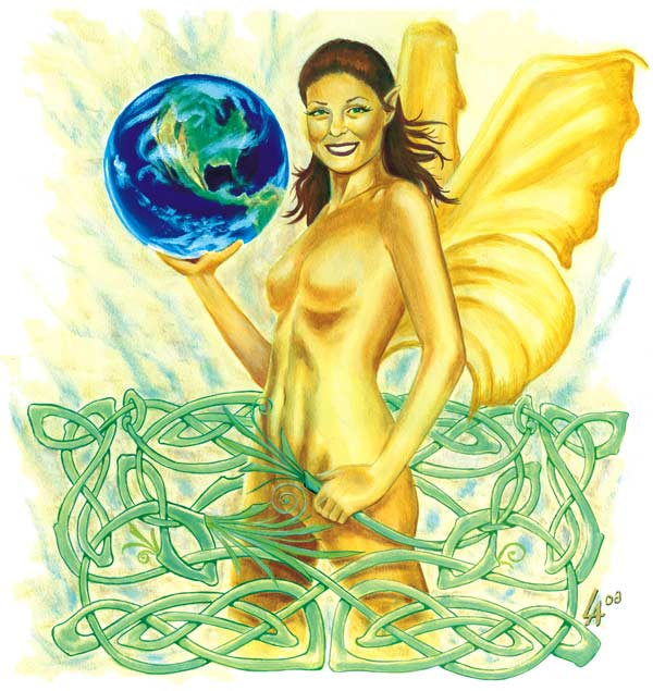 Fairy, faerie, with celtic knot and planet earth