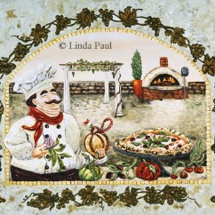 Artwork For Kitchen White Cabinets Design Italian Pizza On Canvas And Tile By Linda Paul Chef
