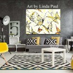 Butterfly Art On Canvas Yellow And Gray Room Decor By Artist Linda Paul