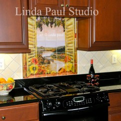 Kitchen Tile Murals Tall Pantry Cabinet Furniture Sunflowers Vineyard Backsplash Mural For Country Kitchens Window Of And
