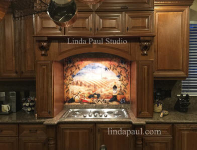 kitchen tile murals storage furniture for sale backsplash medallions tuscan mural over stove