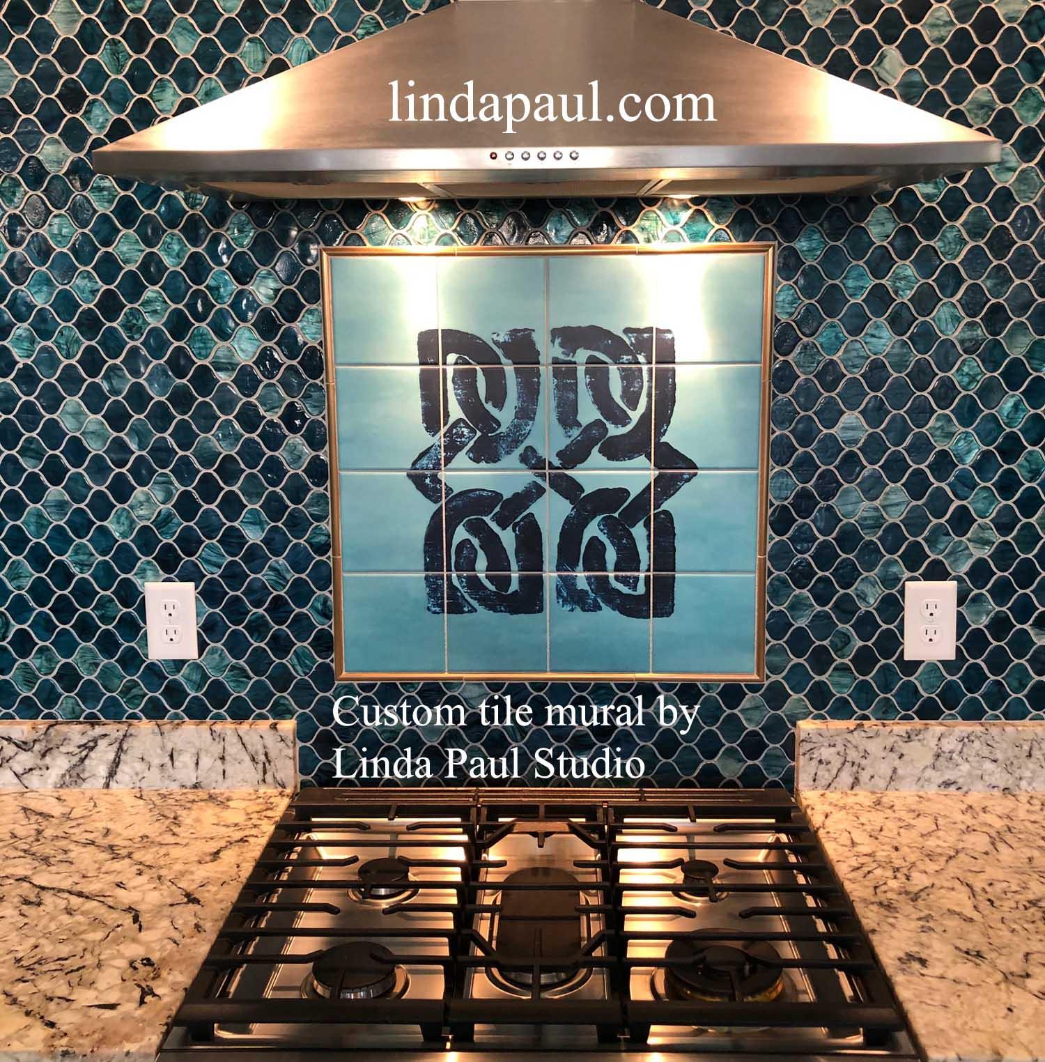 celtic design kitchen backsplash mural tiles