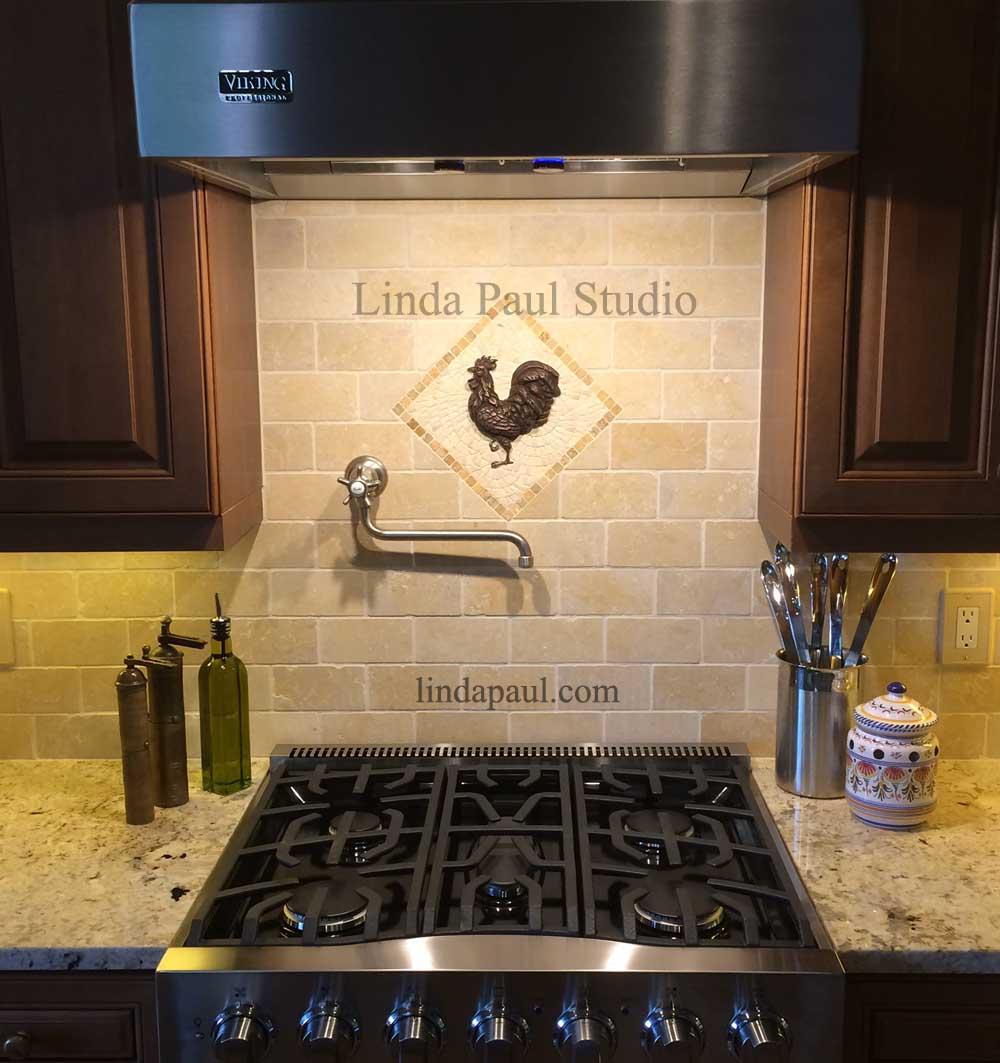 travertine kitchen backsplash plates rooster tile medallion french country ideas