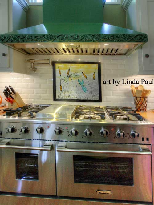 beveled subway tile kitchen hickory island dragonfly art glass - painted pictures of dragonflies