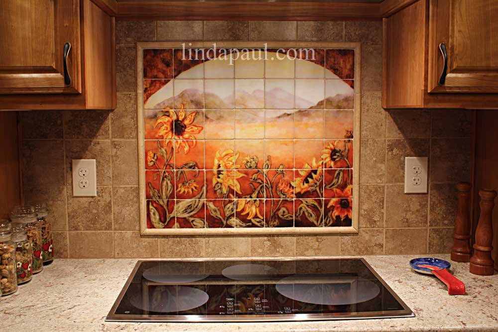 marble kitchen accessories reclaimed wood shelves sunflower decor tile murals - western backsplash ...