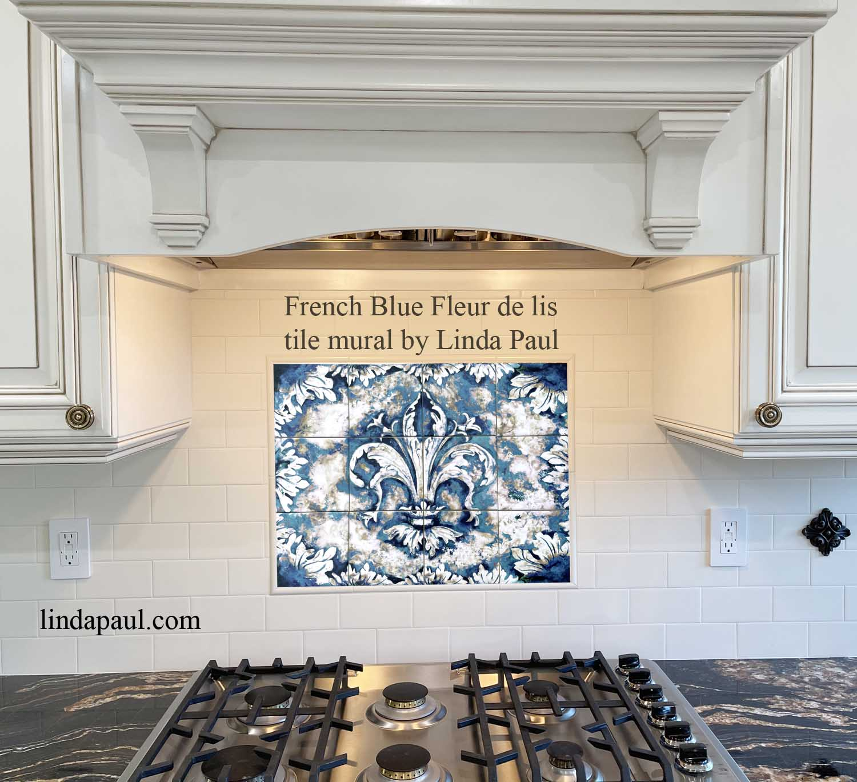 french blue ink fleur de lis ceramic tile mural by artist linda paul