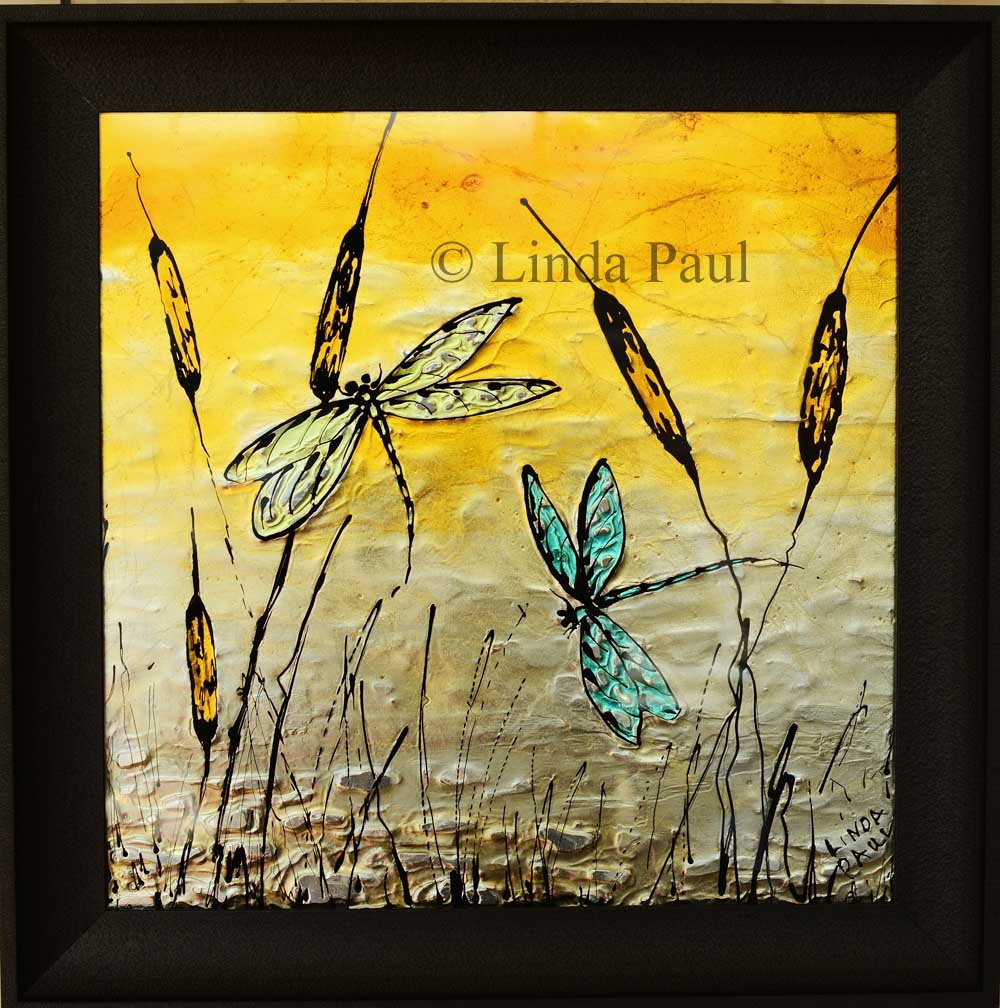 Dragonflies On Cattails Metal Wall Art