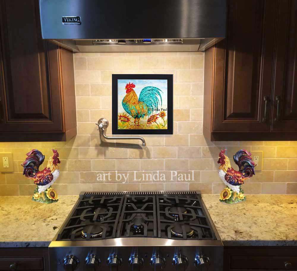 rooster decor kitchen island chandeliers wall art backsplash painting