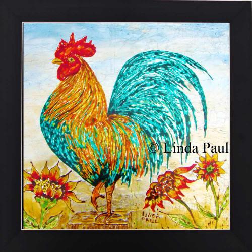 rooster decor kitchen table with bench set - framed wall art or backsplash tile for
