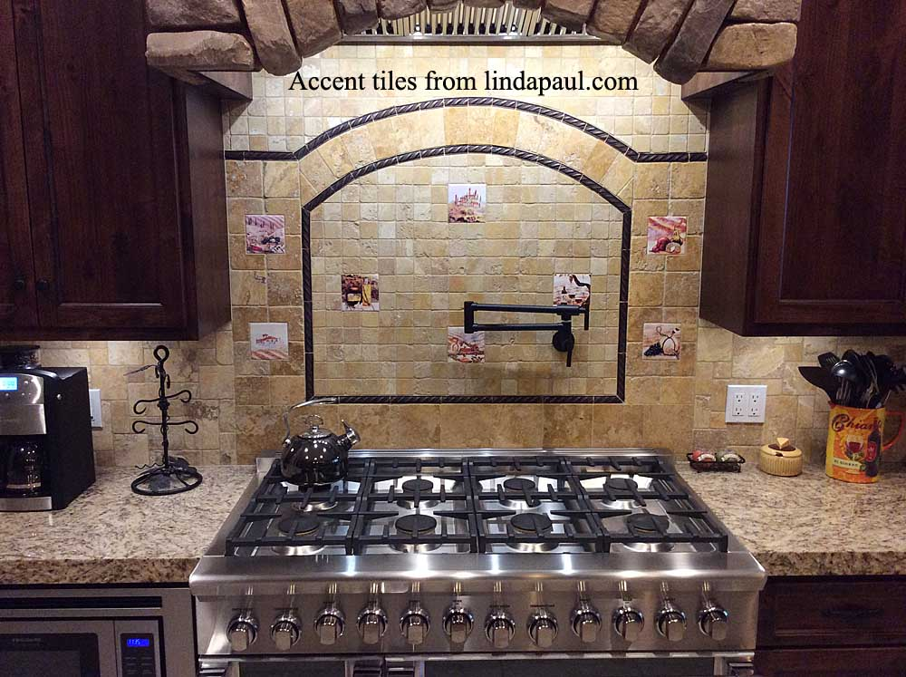 grapes and wine kitchen decor retro wallpaper accent tiles - decorative tile inserts -backsplash ...