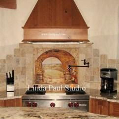 Kitchen Wall Murals Black Granite Countertops Tuscan Backsplash Tile Tiles Backsplashes