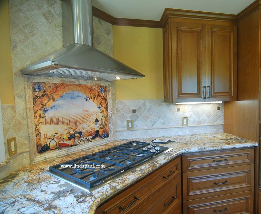 kitchen backsplash design orange appliances italian tile murals tuscany tiles arch stone mural installed