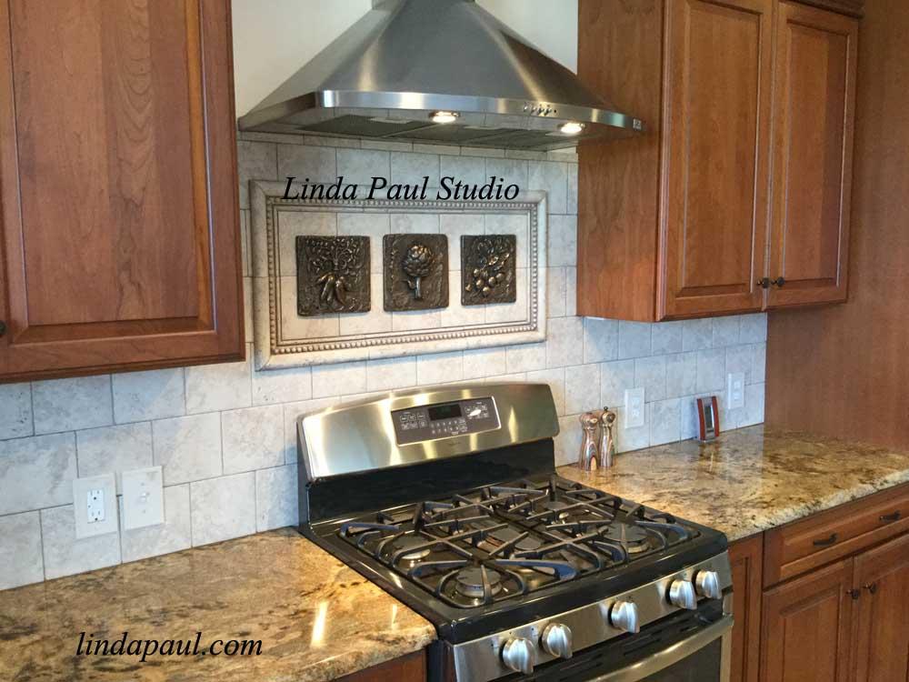 white tile backsplash kitchen trash can for fruit designs - 3d metal tiles of fruits and vegetables