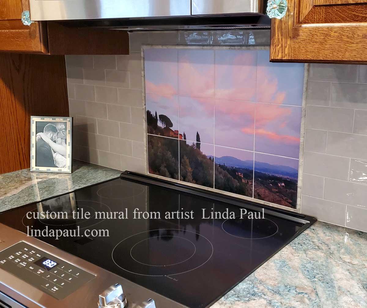 custom photo tile mural back splash