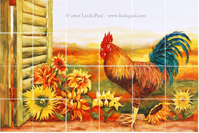 rooster kitchen decor commercial sink backsplash with sunflowers tile murals of