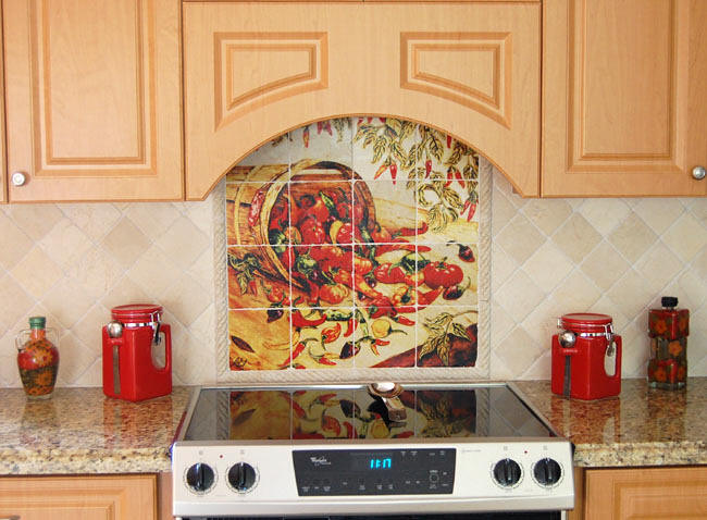 mexican backsplash tiles kitchen tall table home decor - peppers murals