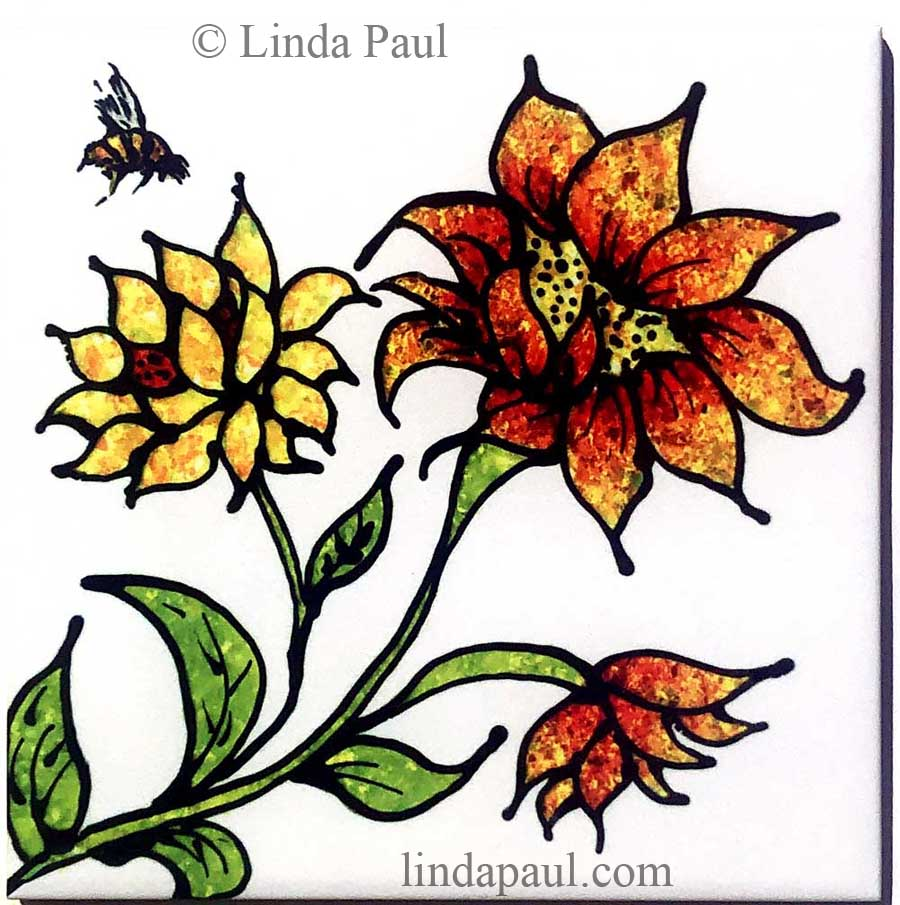 sunflowers and bee decorative tile accent