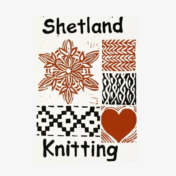 Shetland Knitting - Linocut