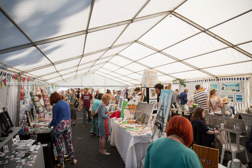 The main marquee with lots of artists | Art in the Park 2016 | Leamington Spa