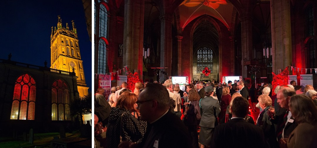 Warwick Poppies 2018 launch - interior and exterior of St Mary's Church